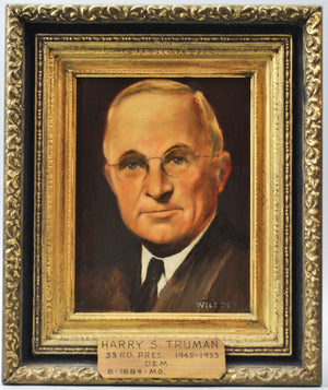 Fred Wilson - President Harry S. Truman - Signed Oil on Board - 1962