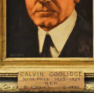 Fred Wilson - President Calvin Coolidge - Signed Oil on Board - 1962