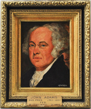 Fred Wilson - President John Adams - Signed Oil on Board - 1962