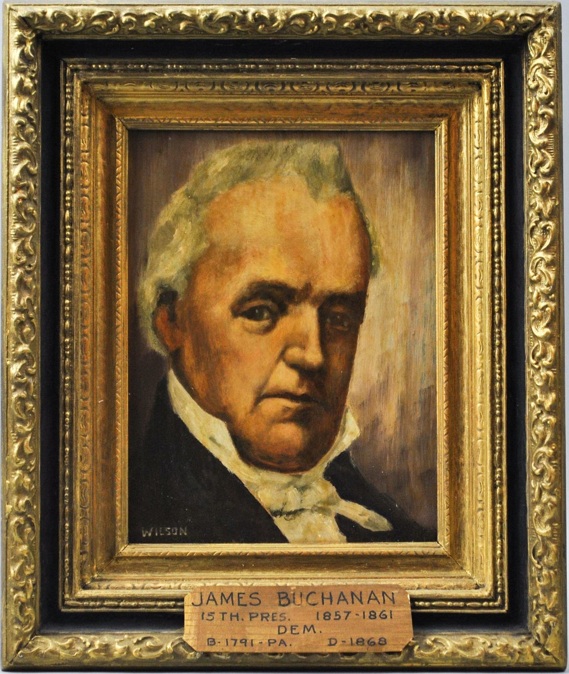 Fred Wilson - President James Buchanan - Signed Oil on Board - 1962