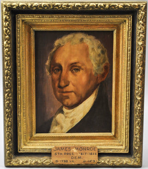 Fred Wilson - President James Monroe - Signed Oil on Board - 1962