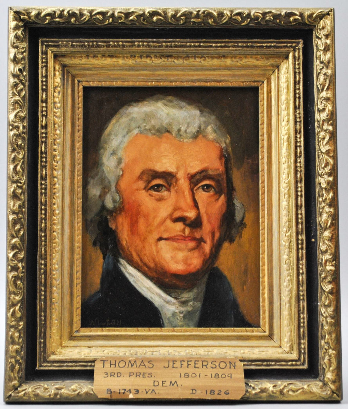 Fred Wilson - President Thomas Jefferson - Signed Oil on Board - 1962