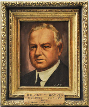 Fred Wilson - President Herbert C. Hoover - Signed Oil on Board - 1962