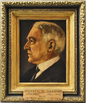 Fred Wilson - President Warren G. Harding - Signed Oil on Board - 1962