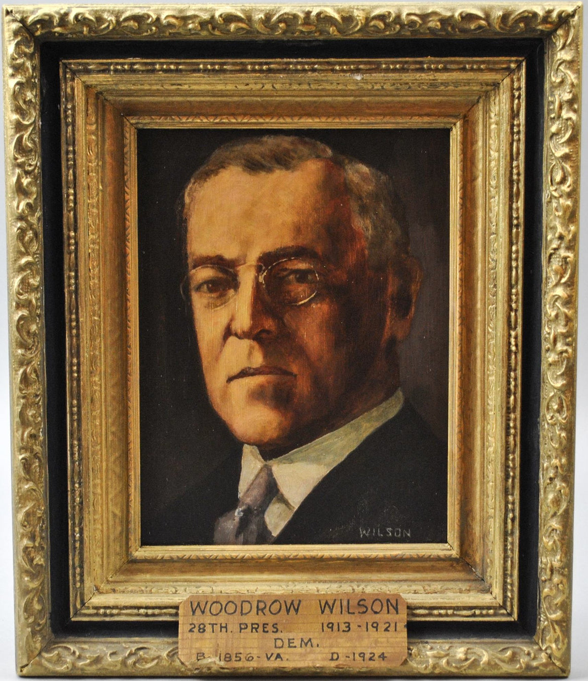 Fred Wilson - President Woodrow Wilson - Signed Oil on Board - 1962