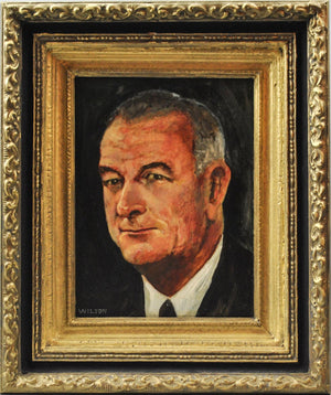 Fred Wilson - President Lyndon B. Johnson - Signed Oil on Board - 1962