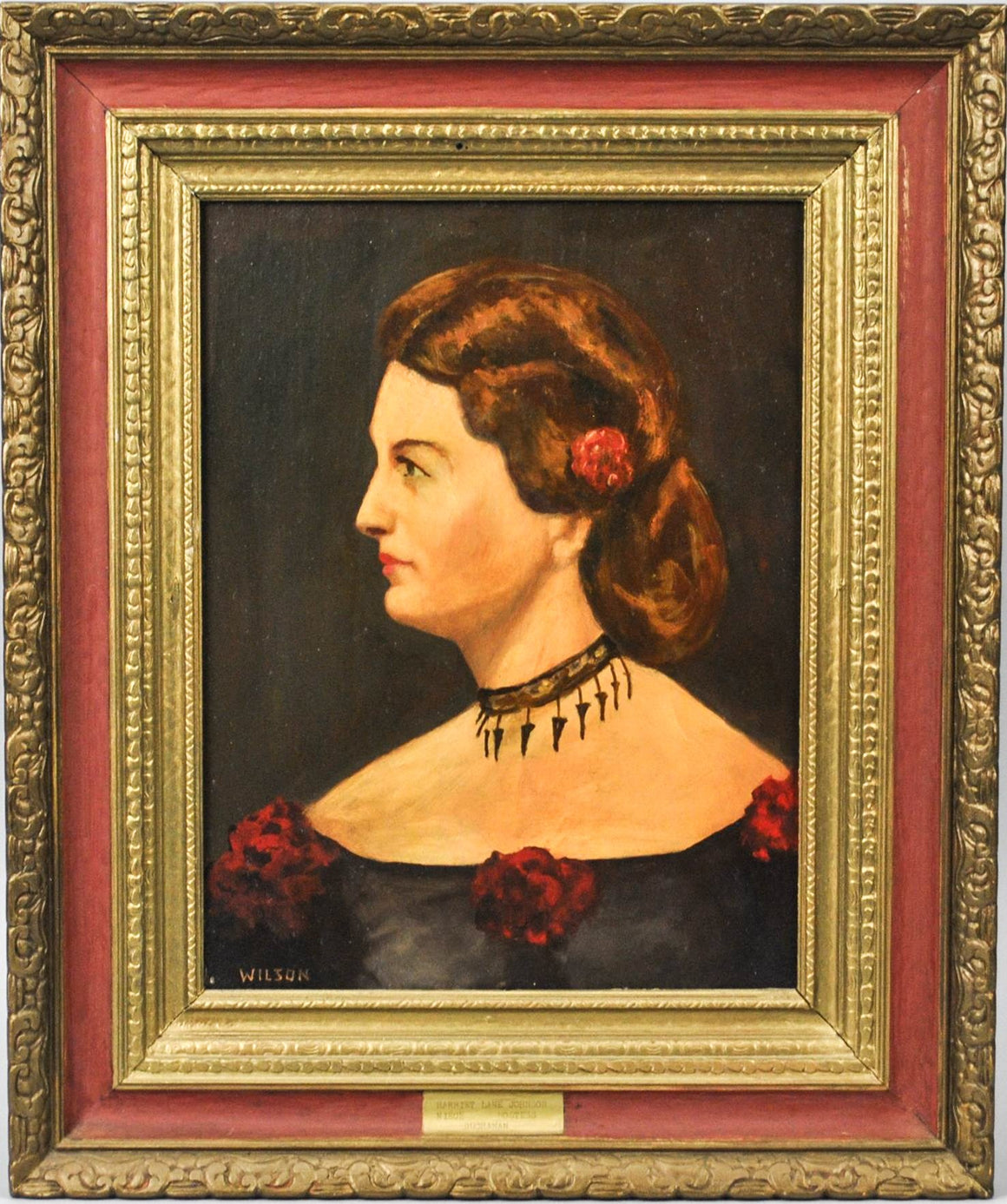 Fred Wilson -  First Lady Harriet Lane Johnston - Signed Oil on Board - 1962