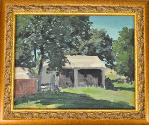 Bertram Bruestle - Rural Covered Building - Oil on Board - Old Lyme Connecticut