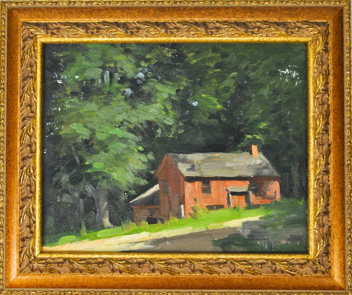 Bertram Bruestle - House on a Hillside - Oil on Board - Old Lyme Connecticut