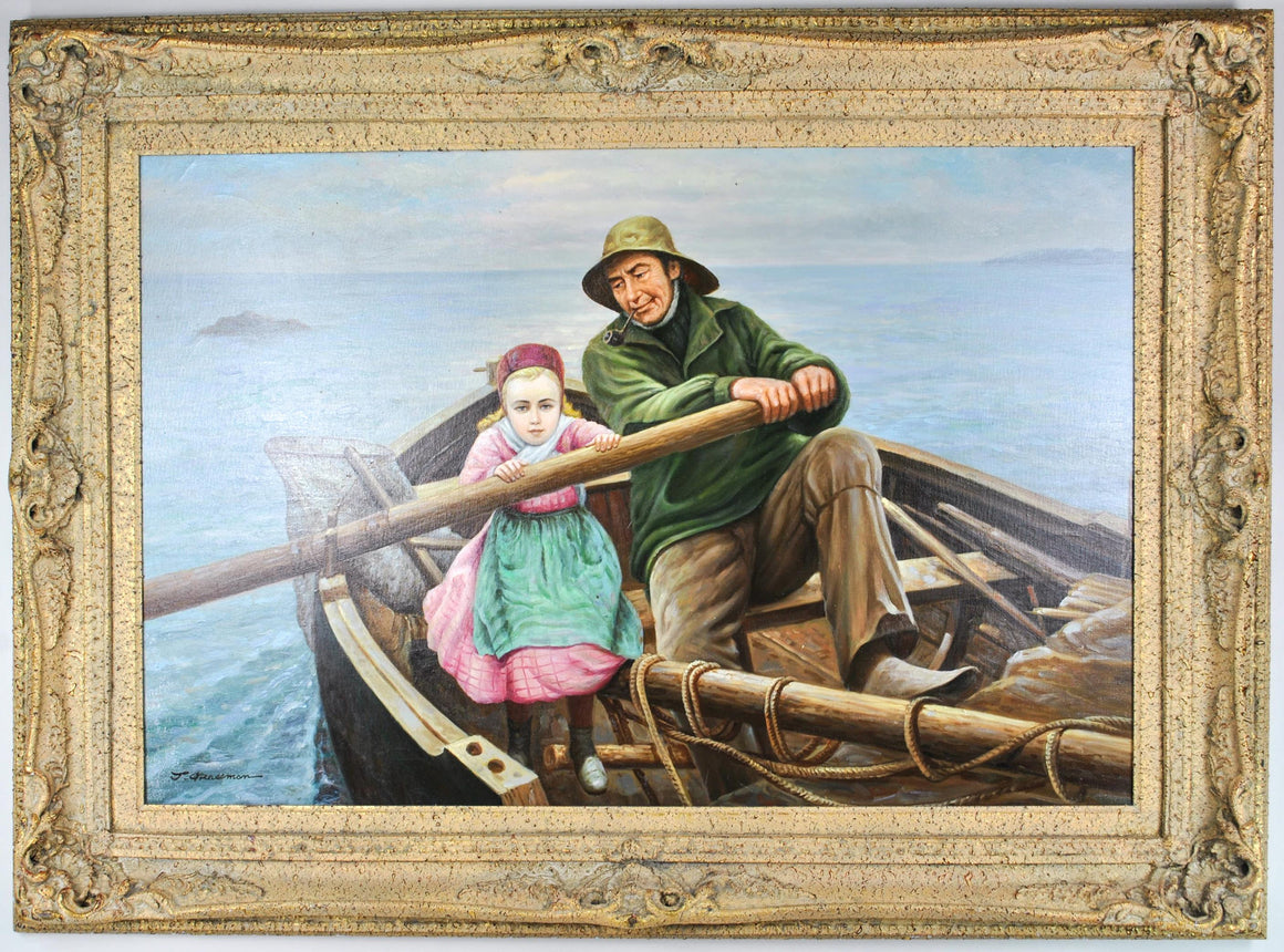 Fisherman and His Daughter in Rowboat Large Oil Painting by J. Grossman