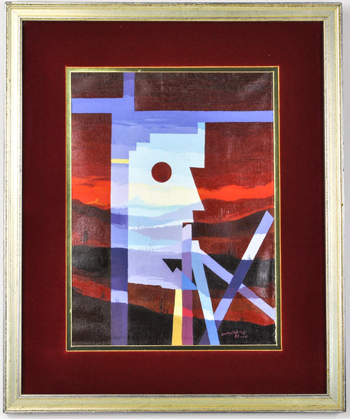Abstract Painting Geometric Cubism Face Landscape Scene Mystery Oil on Canvas