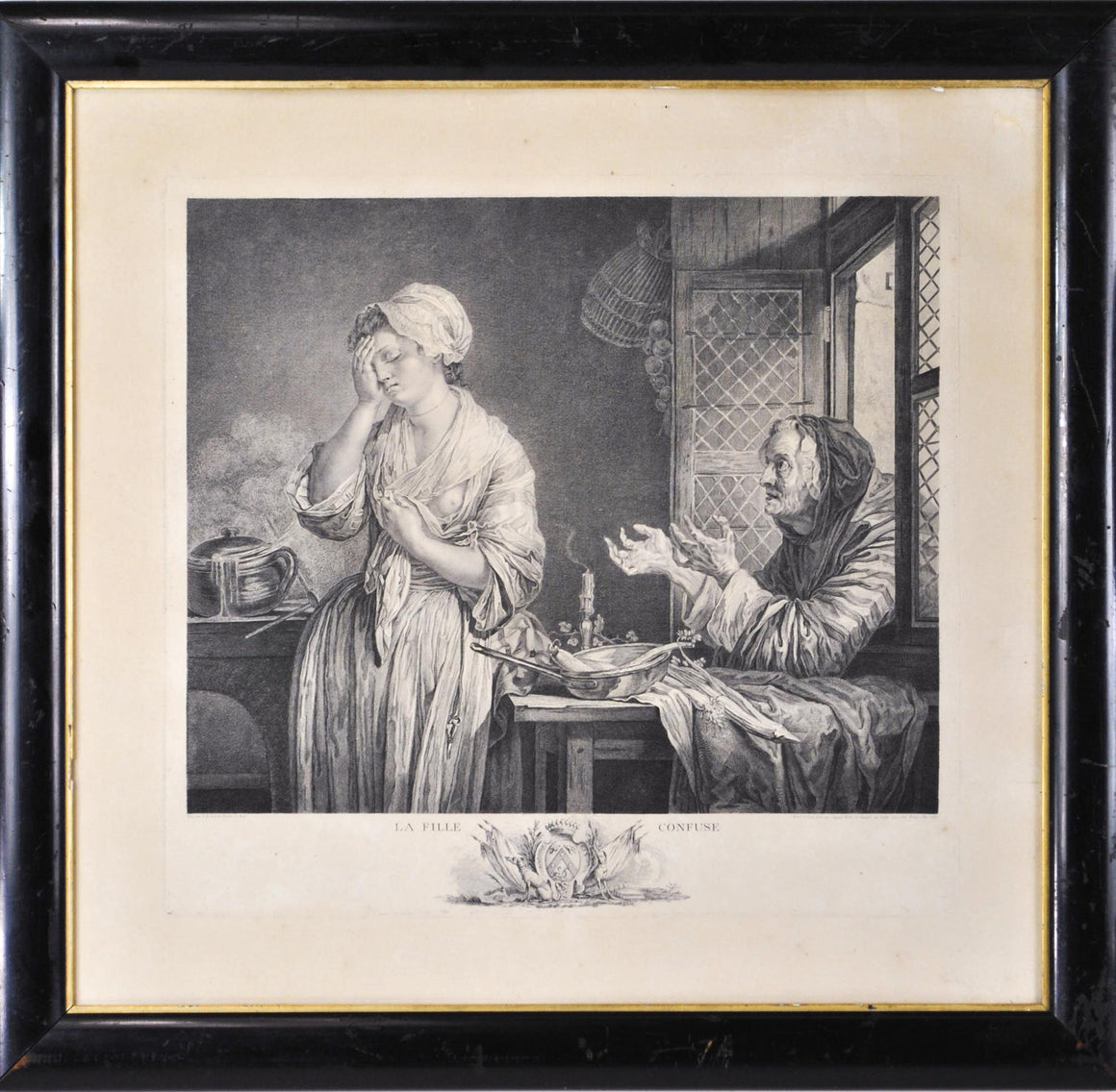 18th c. French Engraving c.1773 La Fille Confuse by Pierre Charles Ingouf Framed