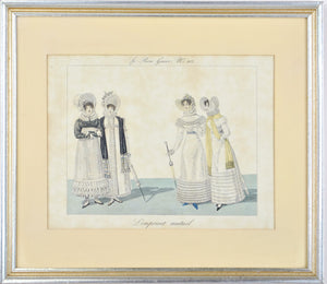Le Bon Genre No. 112 Hand Color Fashion Print L'Emprunt Mutuel 19th c. Costumes
