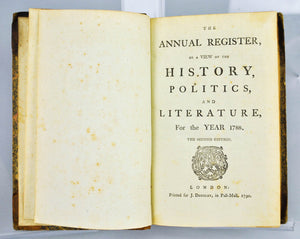 The New Annual Register Published by London Printed for J. Dodsley (1790)