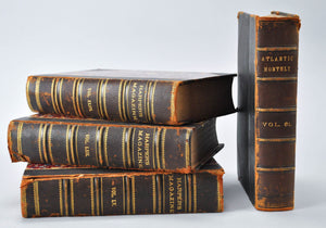 Antique Distressed Leather Book Bundle Set, Shelf Historic Accent, HARPER'S