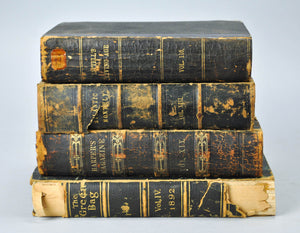 Antique Black Leather Book Bundle Set, Shelf Decor, Historic Home Accent Design