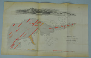 1852 Geological Map Coast View and Sections of Pigeon Point - David Dale Owen
