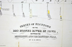 1852 Sections on the Des Moines River - David Dale Owen