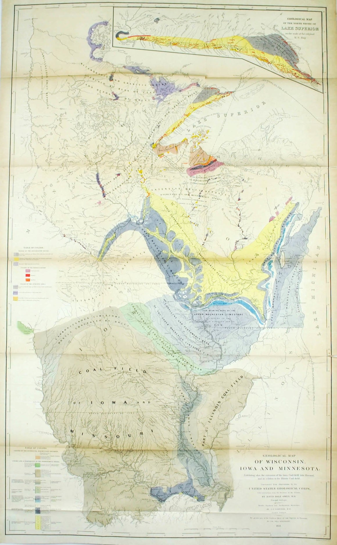 1852 Geological Map of Wisconsin, Iowa and Minnesota - David Dale Owen