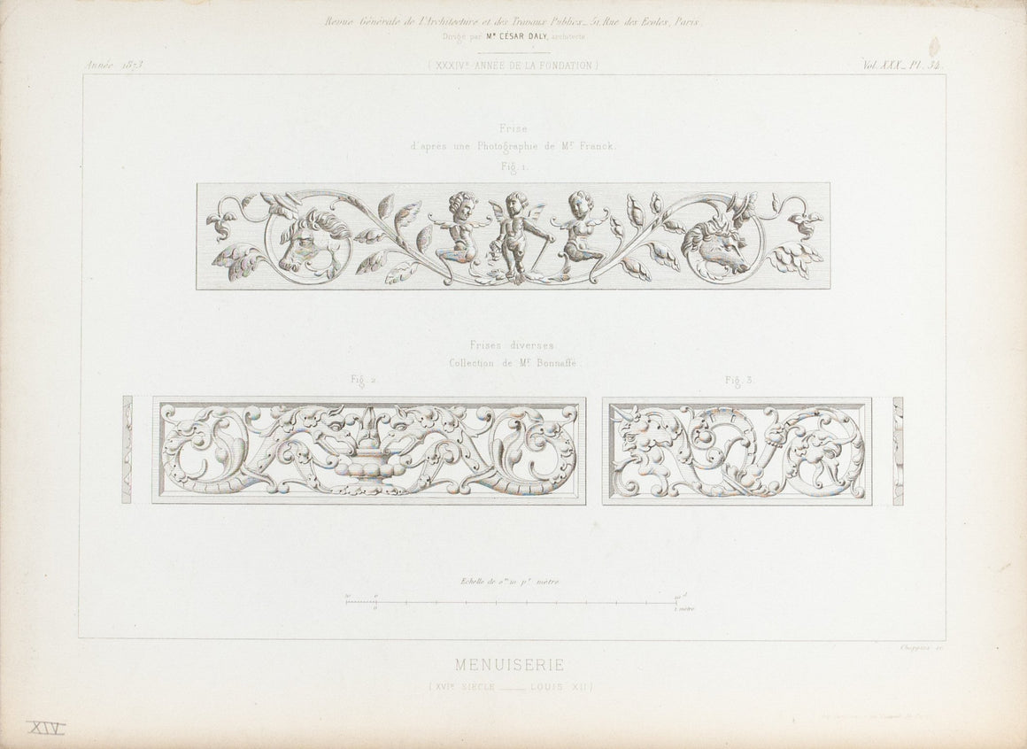 1873 Architecture Antique Print Carpentry Elements Dragon Horse Angel