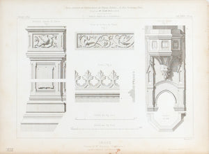 1872 Architecture Antique Print Organ Carpentry Design Church Cathedral (Orgue)