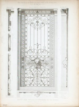1873 Architecture Antique Print Gate Window Ornate Ironwork Design