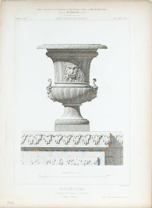 1873 Architecture Antique Print Ornate Vase 17th c. Design (Vase En Plomb)