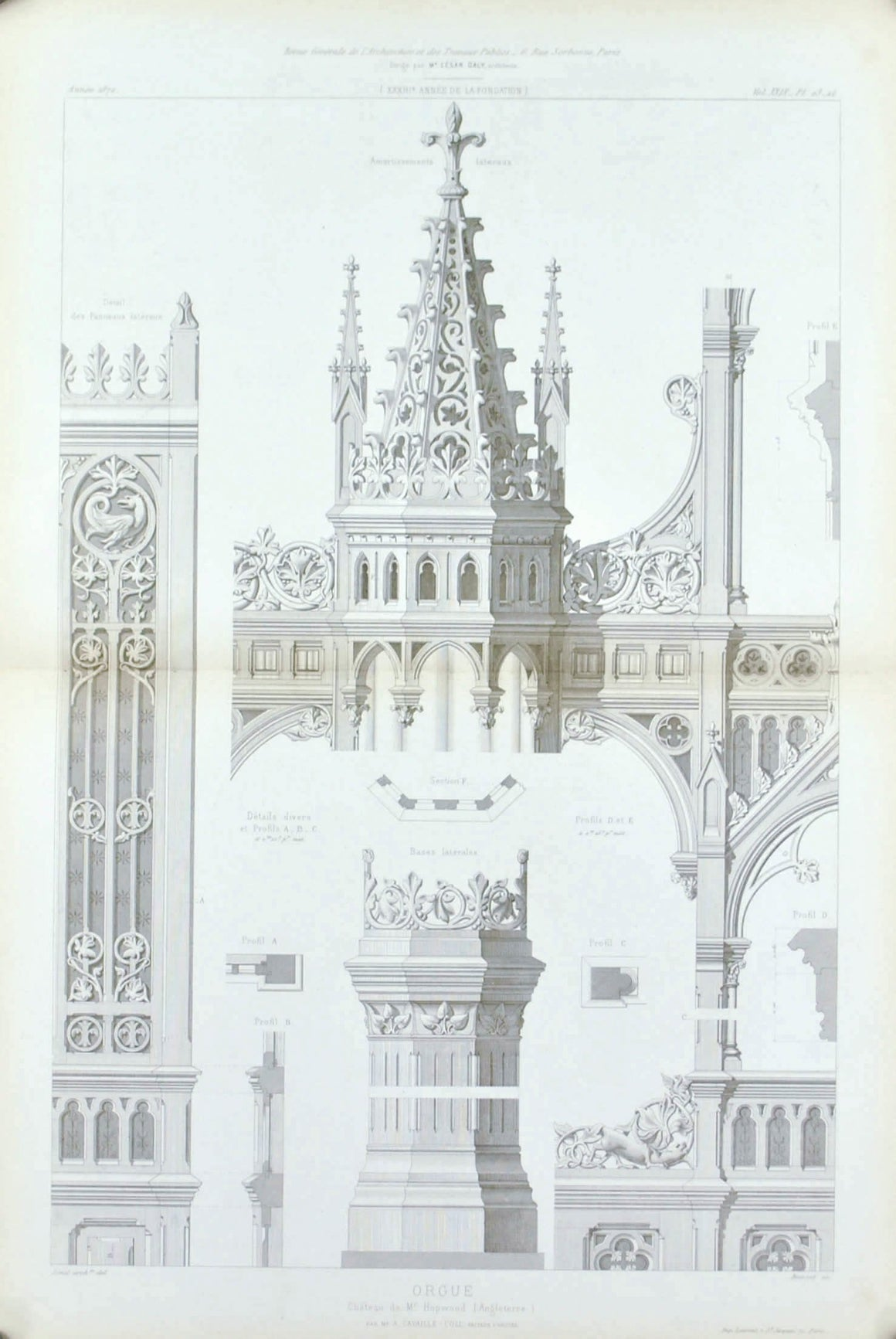 1872 Lg Architecture Antique Print Ornate Church Organ Pillar Design (Orgue)