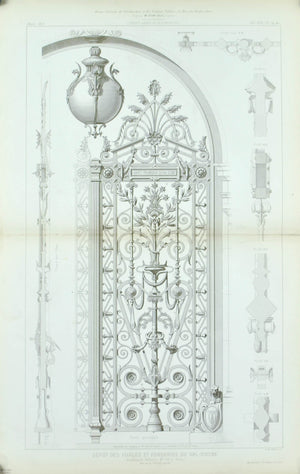 1873 Lg Architecture Antique Print Ornate Arch Door Gate Ironwork Design