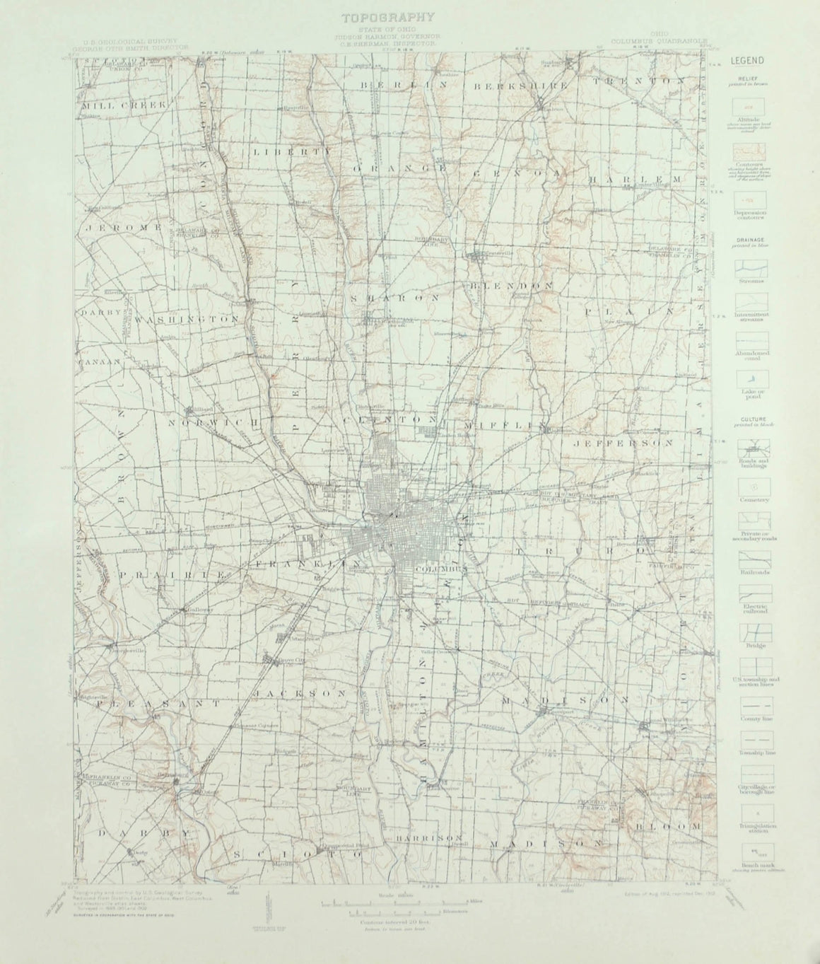 1915 Topography Ohio Columbus Quadrangle - G D Hubbard