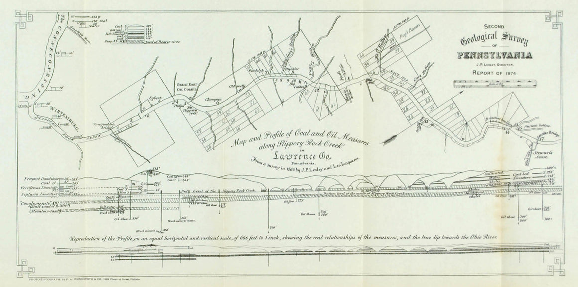 Coal Oil Depth Slippery Rock Creek Pennsylvania Antique Map 1875
