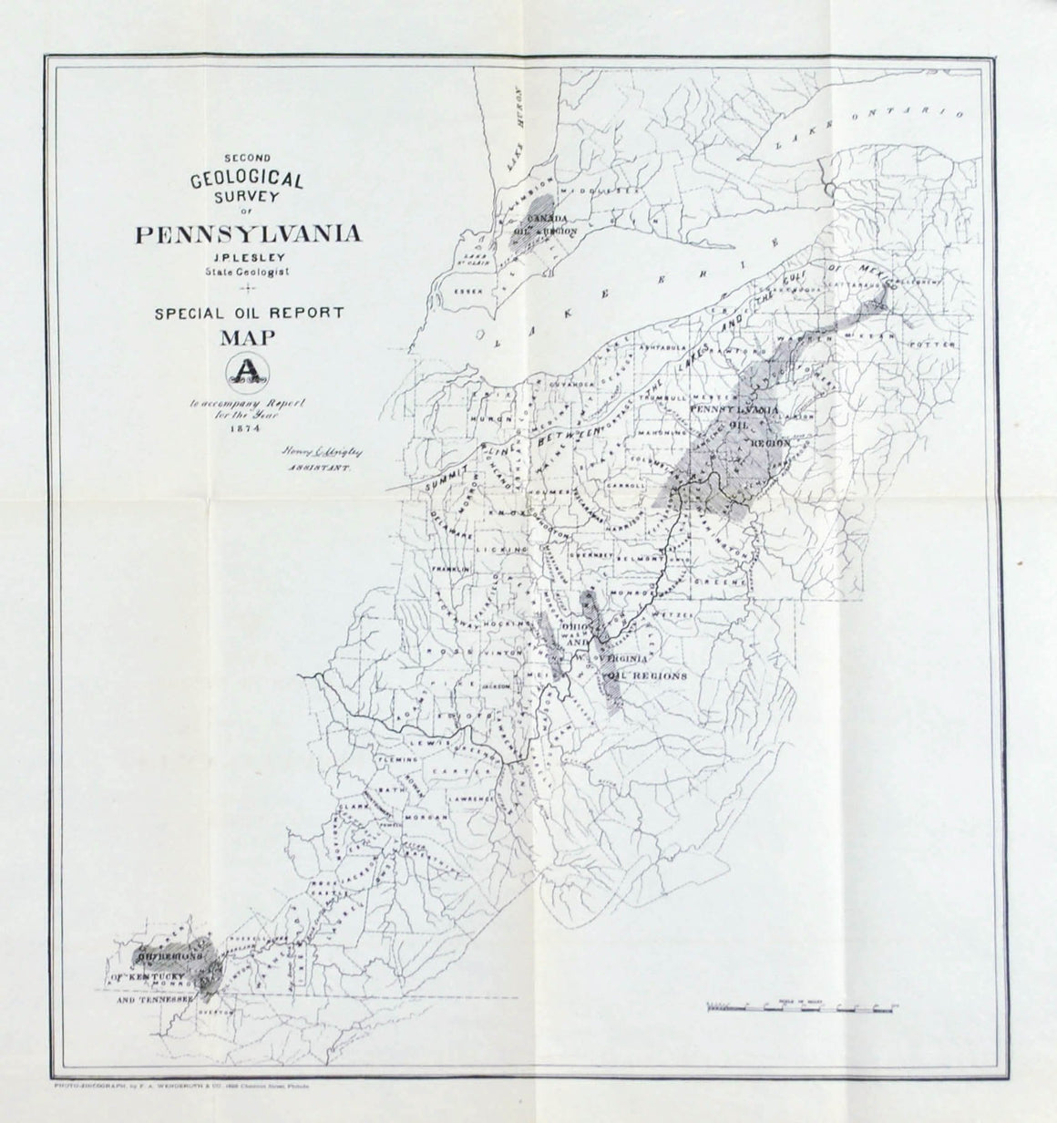 Special Oil Report Pennsylvania Antique Map 1875