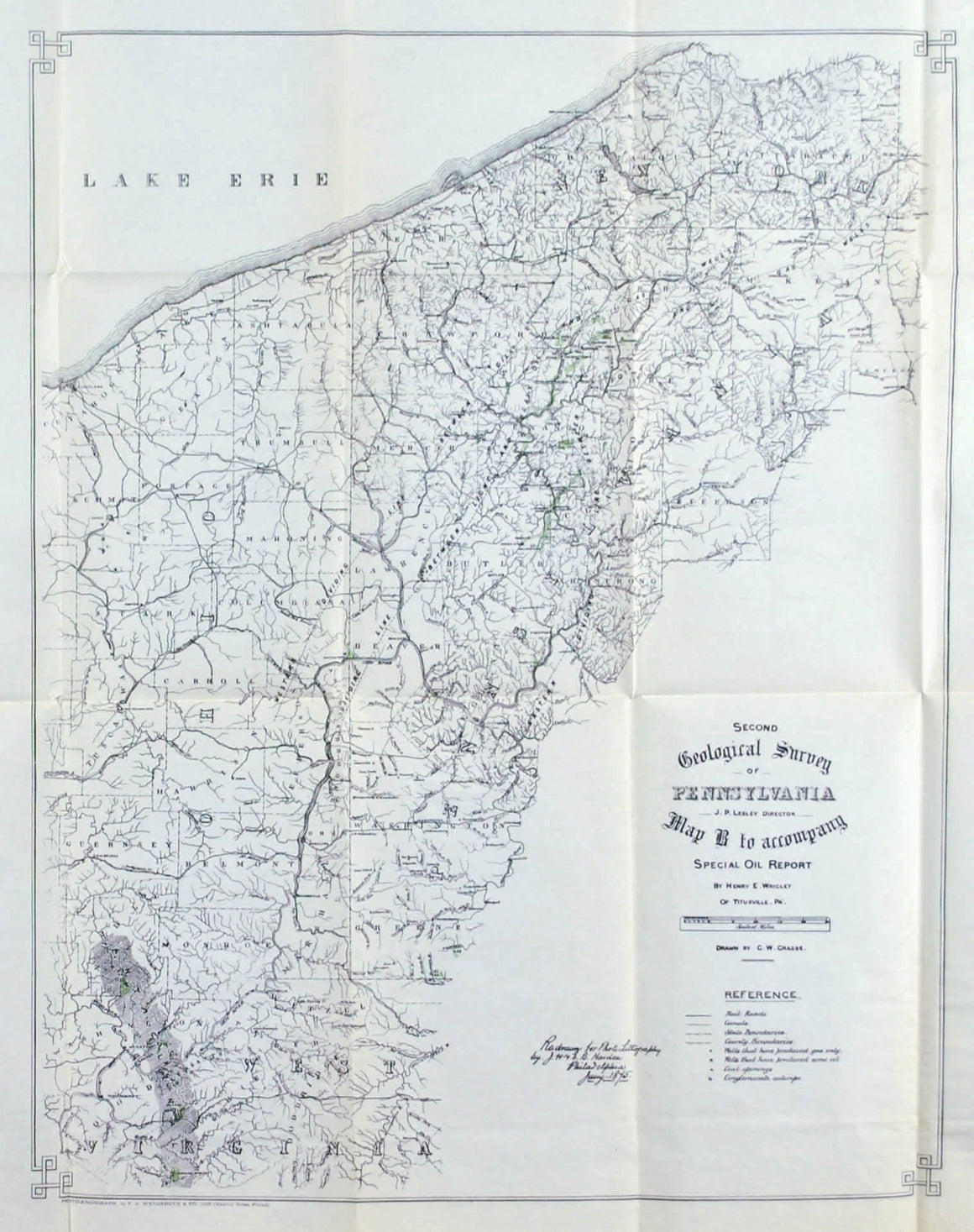 Special Oil Report B Pennsylvania Antique Map 1875