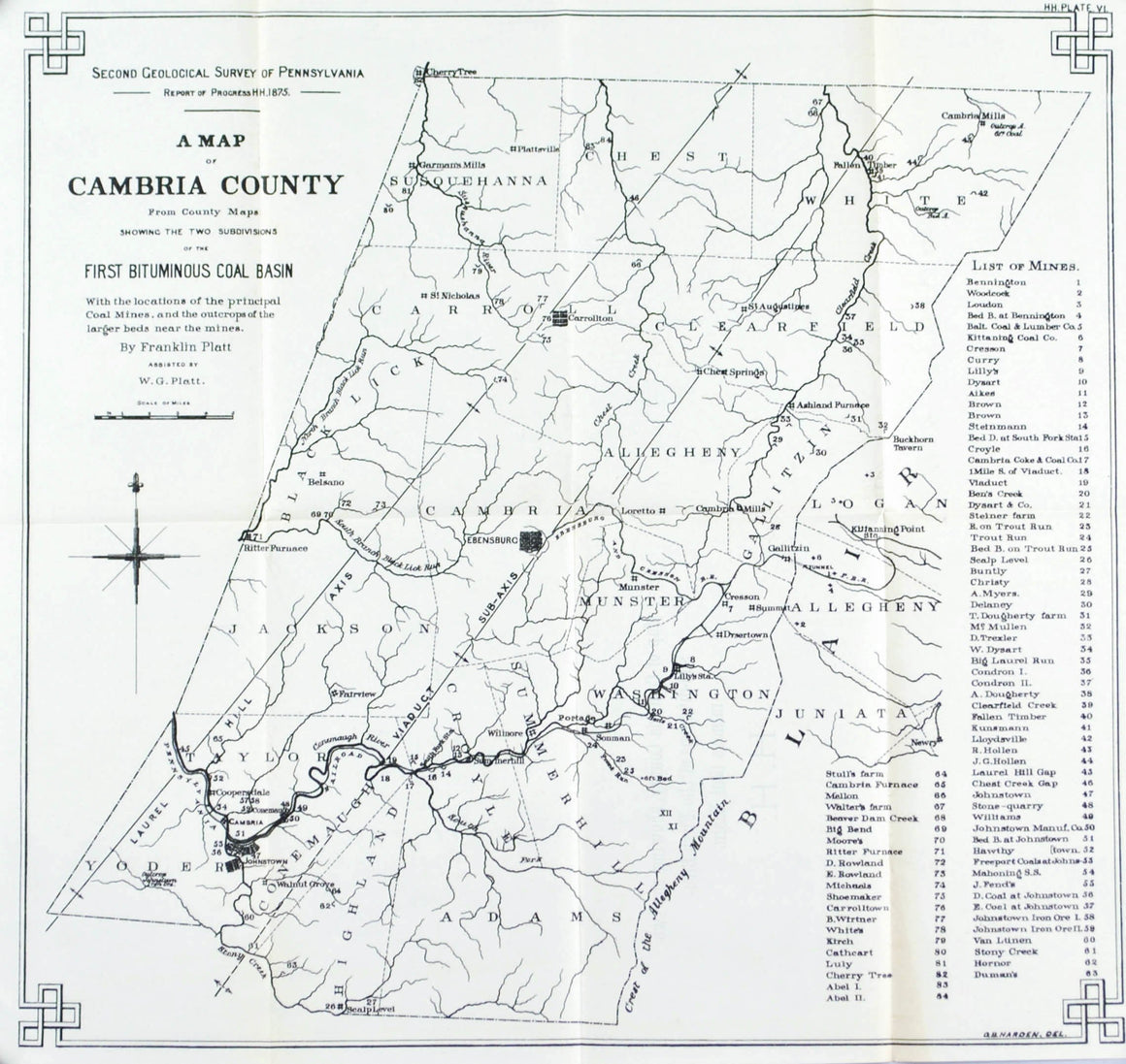 Cambria County Coal Basin & Mines Pennsylvania Antique Map 1877