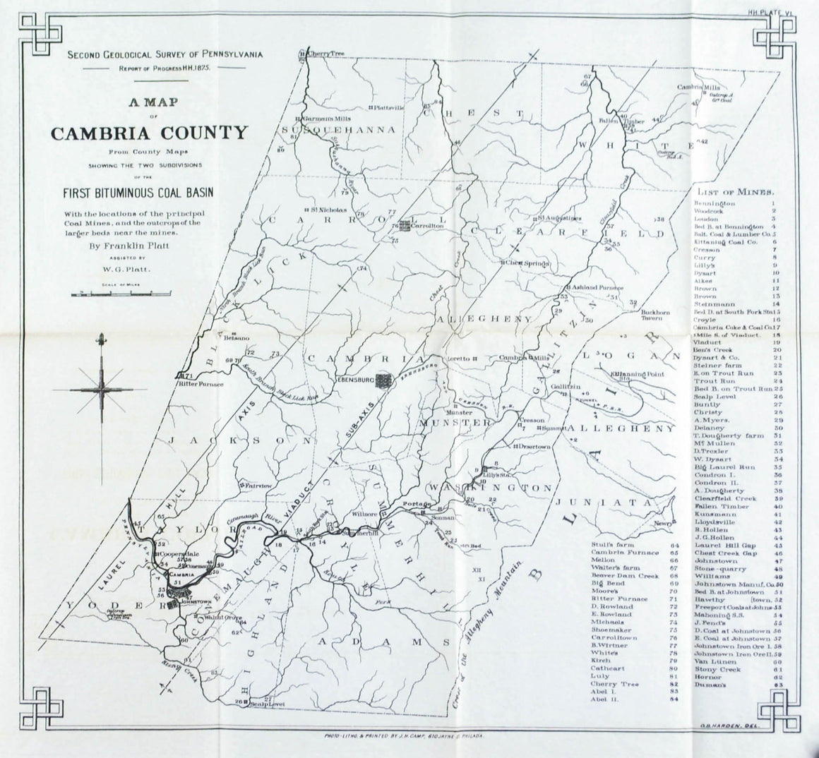Cambria County Coal Basin & Mines Pennsylvania Antique Map 1877 B
