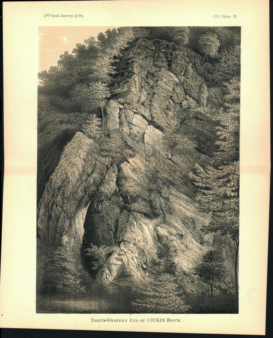 Chikis Rock Lancaster Co Pennsylvania View Antique Print 1880
