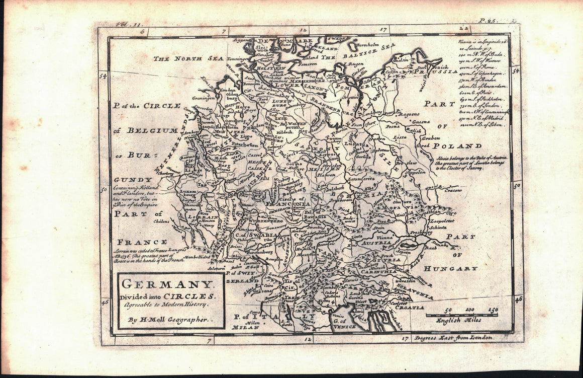 1735 Germany Divided into Circles - Moll