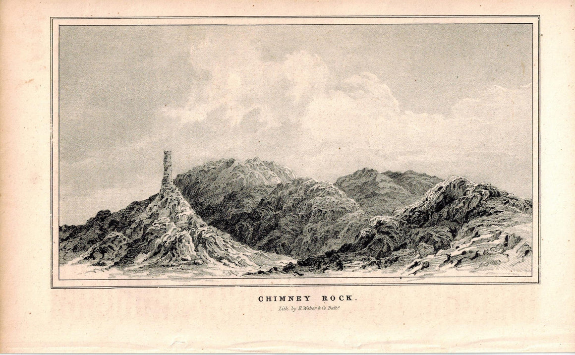 Chimney Rock 1845 Antique Litho Print by E. Weber & Co Baltimore