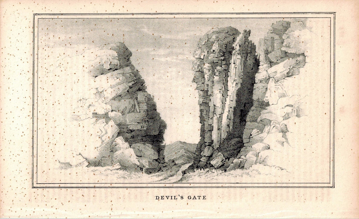 Devil's Gate 1845 Antique Litho Print by E. Weber & Co Baltimore
