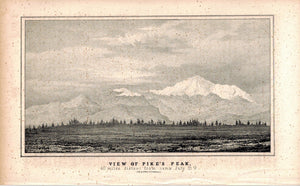 View Of Pike's Peak 1845 Antique Litho Print by E. Weber & Co Baltimore