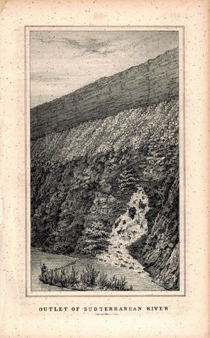 Outlet Of Subterranean (Subterranian) River 1845 Antique Litho Print by Weber