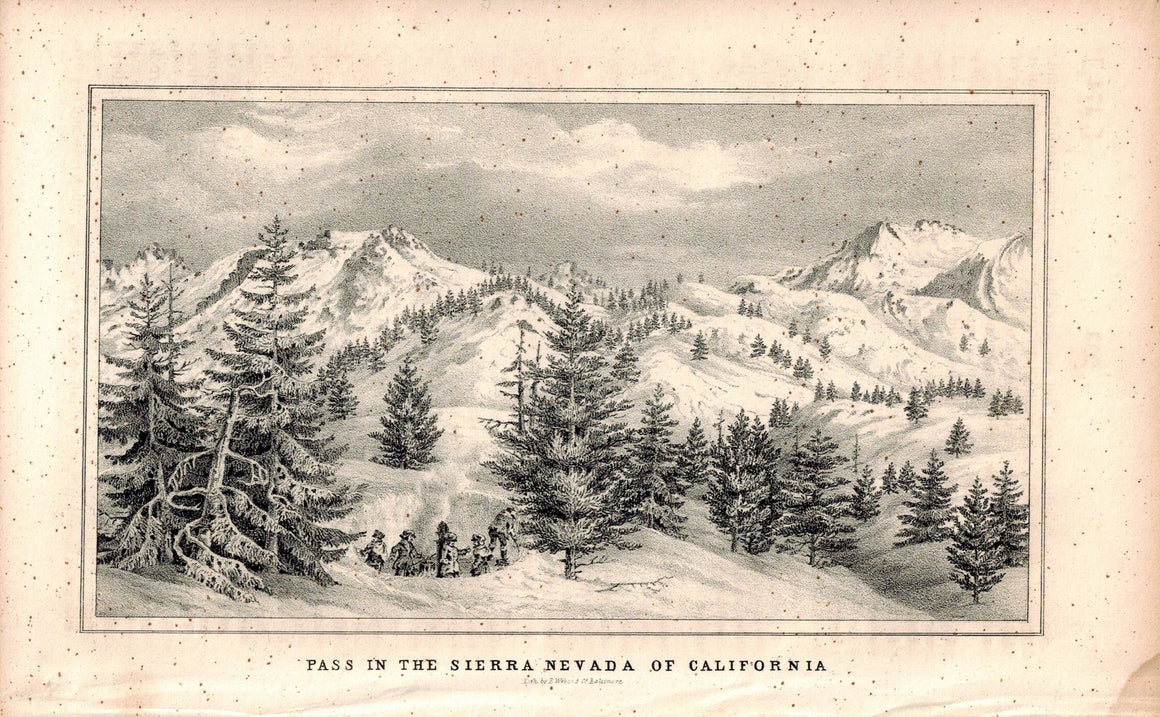 Pass In The Sierra Nevada Of California 1845 Antique Litho Print by E. Weber