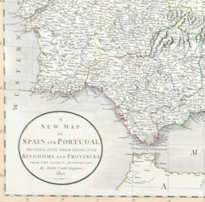 1808 A New Map of Spain and Portugal - Cary