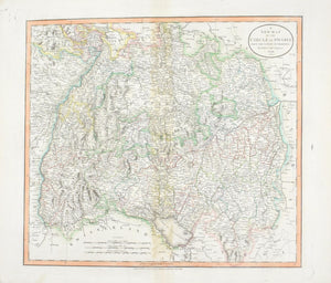 1808 A New Map of the Circle of Swabia - Cary