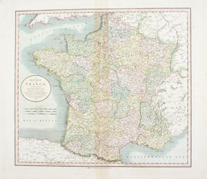 1808 A New Map of France - Cary