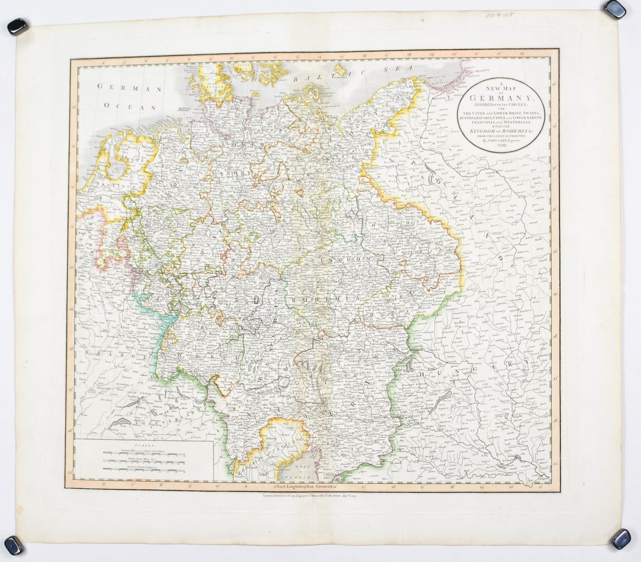 Large Map Of Germany.1808 A New Map Of Germany Cary Historic Accents