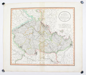 1808 A New map of Bohemia and Moravia - Cary