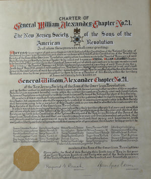 Charter William Alexander Chapter New Jersey Sons of the Revolution 1946