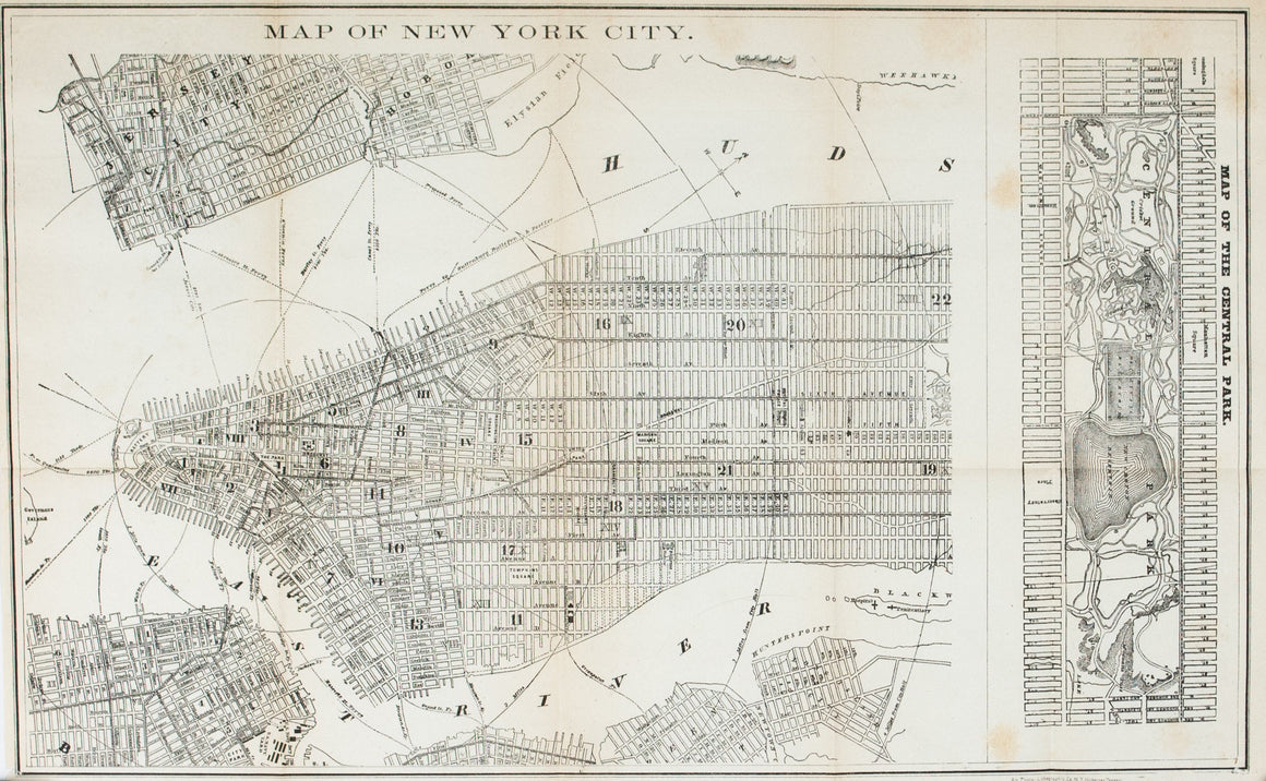 1867 Map of New York City, Map of Central Park - Edward Hall