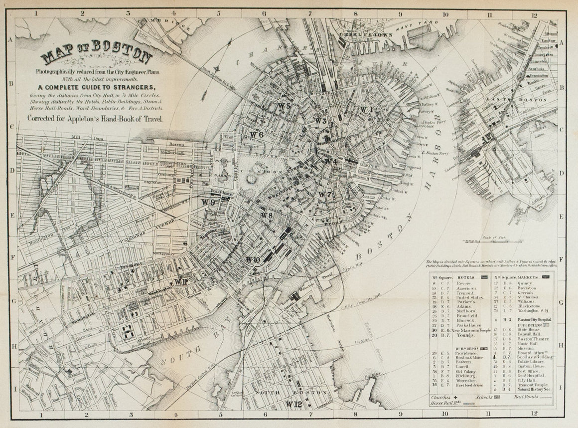 1867 Map of Boston - Edward Hall